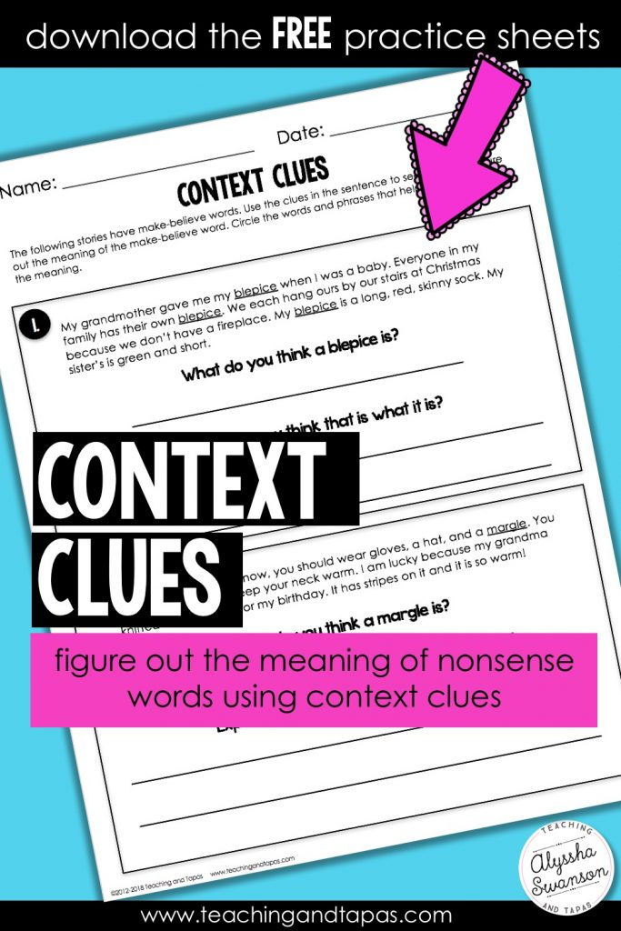 Context Clues FREEBIE!   Teaching and Tapas