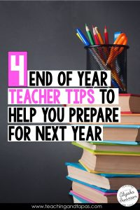 These are organization tips and activities that the busy teacher can do at the end of the school year to get for the next school year. Hint: start with your bulletin board!
