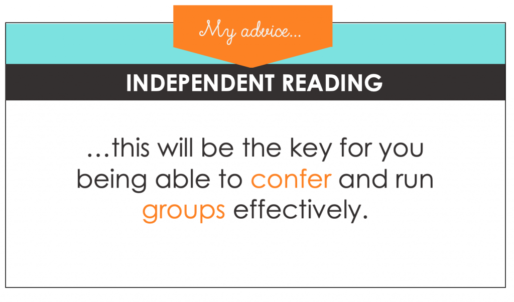 During independent reading time, you are conferring or leading small groups